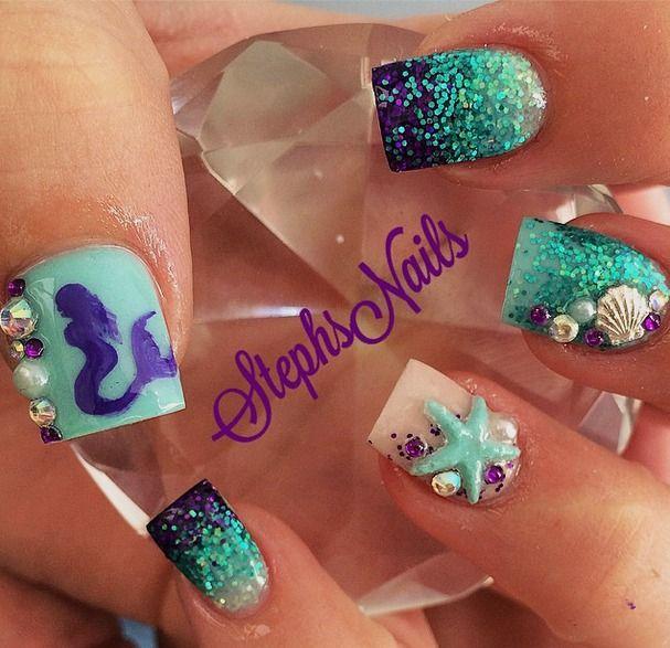 @_stephsnails_ on Instagram Mermaid nails - Best 25+ Little Mermaid Nails Ideas On Pinterest Little Mermaid