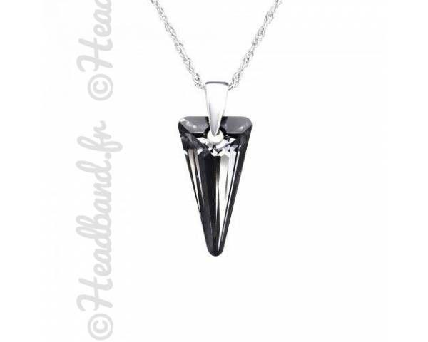 Collier argent cristal triangle Swarovski silver night