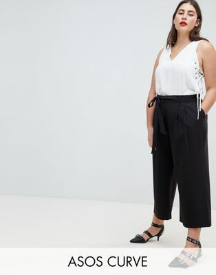 asos design curve mix match culotte with tie waist hosenrock
