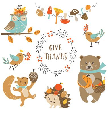 cute-autumn-forest-animals-vector-5852265.jpg (380×400)