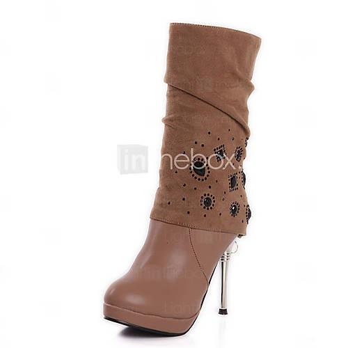vakre lær stiletto hæl mid-kalv støvler med rhinestone fest / kveld sko (flere farger)