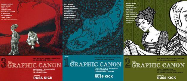 Πέντε κόμικς με υψηλό δείκτη IQ : «Graphic Canon»: Αυτή η σειρά παρουσιάζει την κλασική λογοτεχνία σε μορφή κόμικ. Καλύπτοντας τα πάντα, από τα έπη του Γκιλγκαμές και της Ιλιάδας, τα έργα του Σαίξπηρ, του Τολστόι και τους ποιητές της Μπητ γενιάς, πρόκειται για μια εικονική περιήγηση στον κόσμο της λογοτεχνίας. Μία τριλογία σε επιμέλεια του Russ Kick.