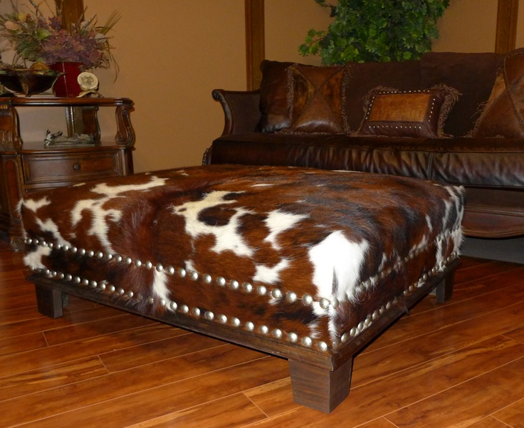 Brown Tricolor Custom Ottoman With Silver Nailhead and Brown Wood Trim