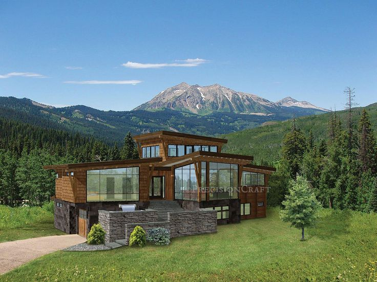 Small Contemporary Mountain Home Plans: This Modern, Mountain Style Design Combines Rustic Timber