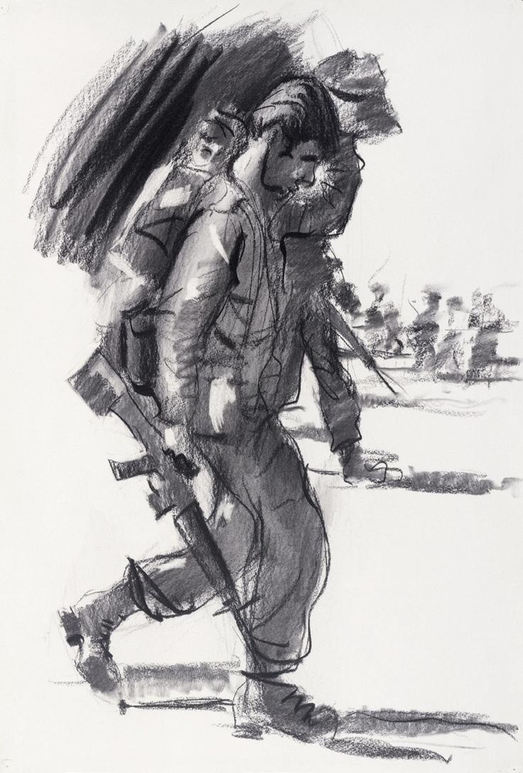 McFadyen, Ken 'Back from patrol, 2 Battalion Royal Australian Regiment, Nui Dat, Vietnam 1967', charcoal, rubbing out on paper, 56.2 x 38.2 cm.  #kenmcfayden #vietnamoncanvas #sandrafingerlee #vietnamwar #warart #charcoal #sketch