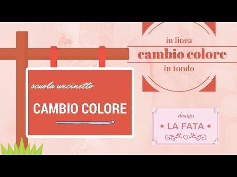 Scuola uncinetto: cambio colore in linea e in tondo senza scaletta/lafatatuttofare - YouTube