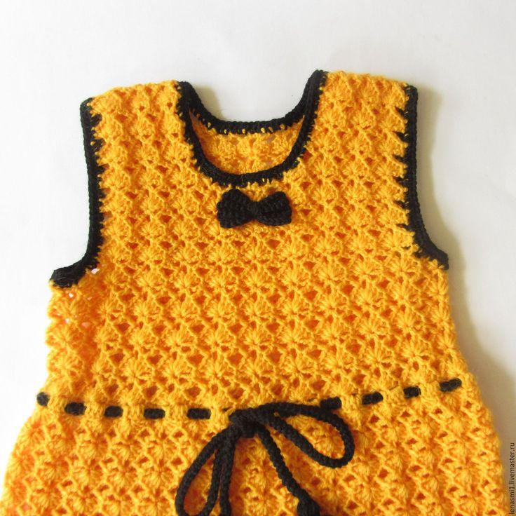 Купить Вязаный детский желтый сарафан для девочки с черной отделкой. На 5 лет - желтый