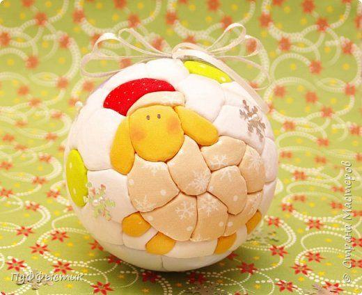 Мастер-класс Новый год Кинусайга Новогодний шар в технике кинусайга Пенопласт Ткань фото 14