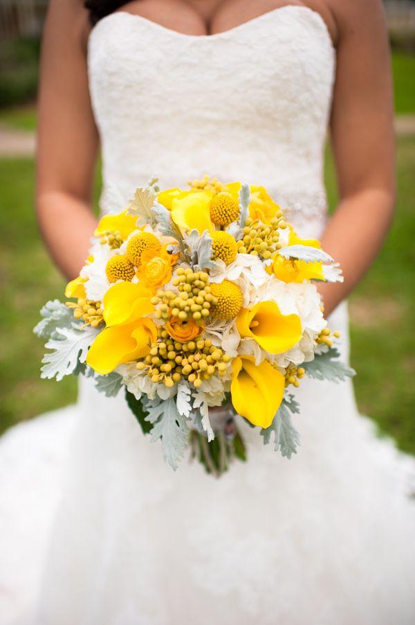 Yellow Flowers At Wedding : Calla lilies hydrangea button mum craspedia and
