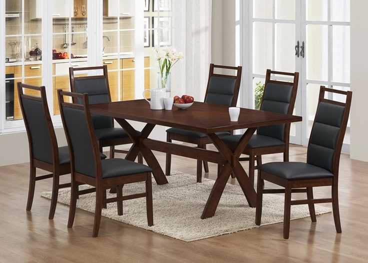 Part Of Modern Collection This Dining Room Set Comes In A Wonderful Cappuccino Finish