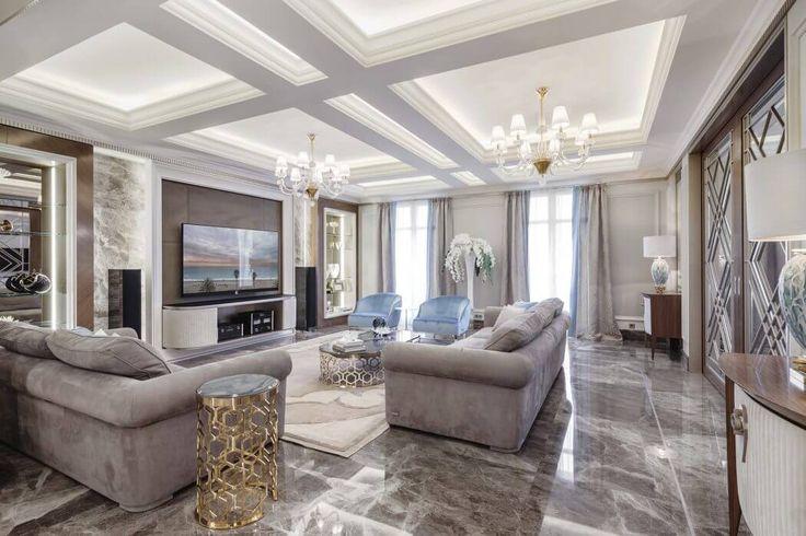Un salon à la décoration luxueuse. #décoration #intérieure #inspiraiton #luxe