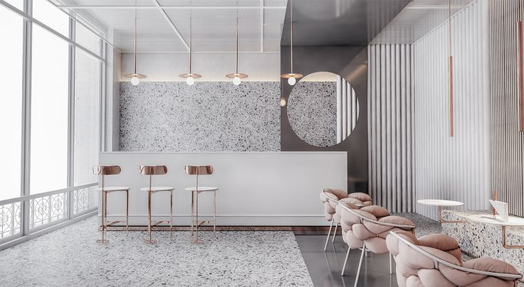 P-01 is a beautiful, clean and copper and rose based Interior Design project by Zoe Ru, a Katowice (Poland) based interior architect and designer.