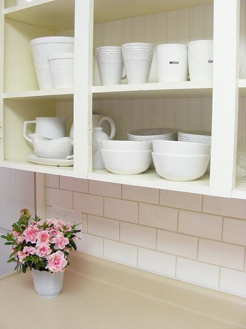 Beadboard Wallpaper And Subway Tile Backsplash Kitchen