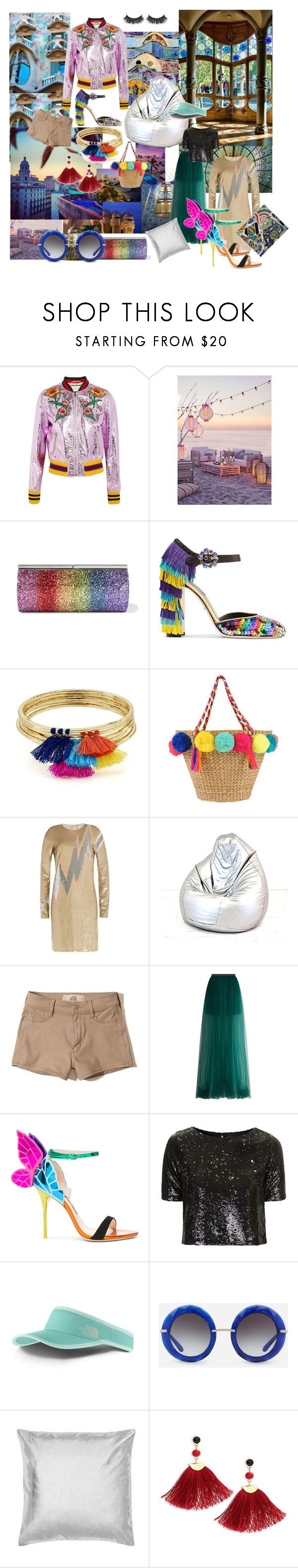 """#barcelona #beautifultravel #gaudistyle #mosaic #colours #glitter #dazzle #shine #metallics"" by cielshopinteriors ❤ liked on Polyvore featuring Gaudì, Gucci, We Are Massiv., Jimmy Choo, Dolce&Gabbana, Aqua, Emilio Pucci, Ciel, Hollister Co. and Delpozo"