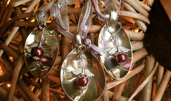 Vintage silver spoons turn into a beautiful piece of jewelery. Beauty for ashes. This vintage christmas tree ornament is not only a beautiful glistening ornament on your tree it also reminds you of the good news the angels brought to the shepherds: Do not be afraid! For today has been born for you a Savior. Merry Christmas! The spoon is cut, the handle is bend over into a loop and featured with an angel. Yes, I do custom orders. If you want your favourite quote or the name of your loved one…