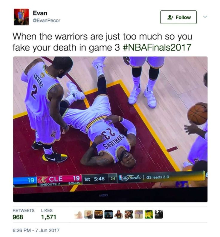 Twitter lit up with memes after the Warriors' stunning Game 3 victory over the Cavs in the NBA Finals. Photo: Screenshot Via Twitter