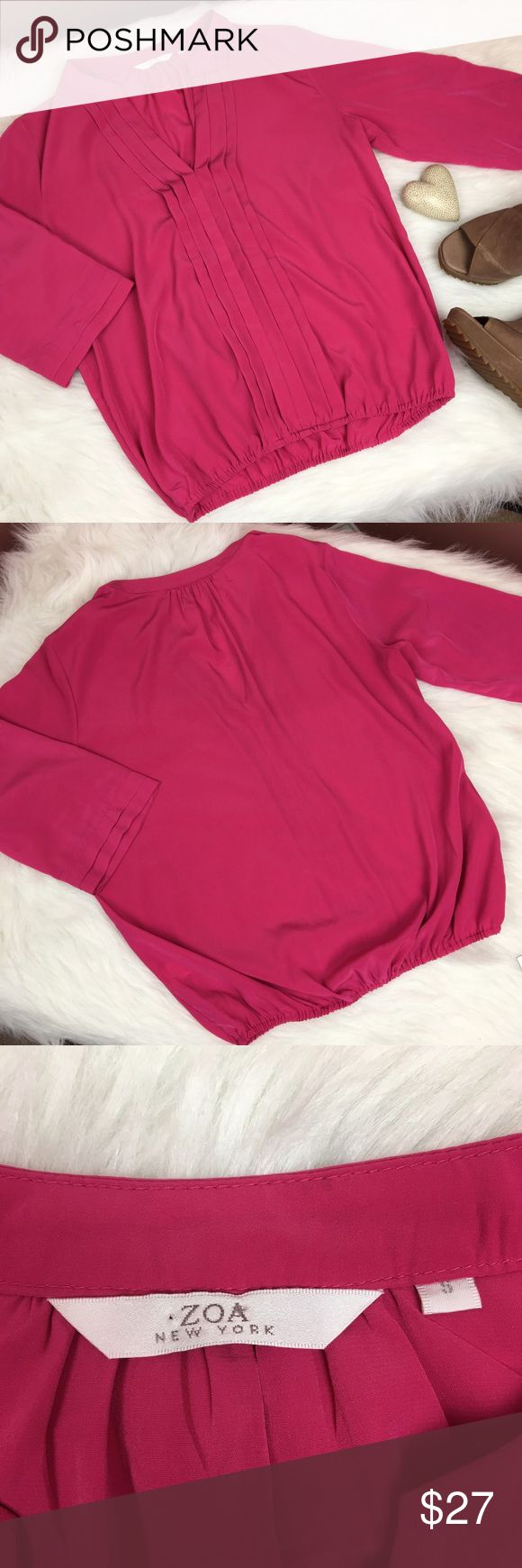 """Zoa New York   hot pink V-neck blouse Zoa New York hot pink V-neck blouse. Feels soft like silk. Half length sleeve. Elastic at bottom. Small mark as shown in photo.   •Approximate measurements laying flat:      •length from shoulder seam 23.5""""      •bust 19"""" across       •waist 14.5"""" relaxed   🌟All offers considered -- Usually countered or accepted! --I 🖤 Bundles! Bundle & make me an offer Anthropologie Tops Blouses"""