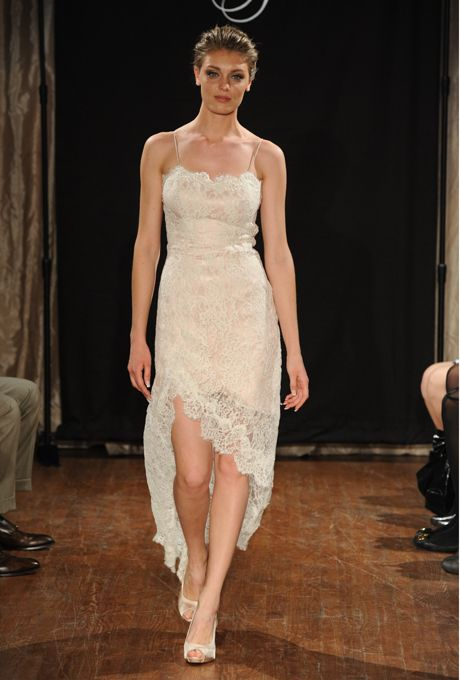 """Brides.com: Sarah Jassir - Spring 2013. """"Belle"""" asymmetrical blush lace sheath weeding dress with spaghetti straps, Sarah Jassir  See more Sarah Jassir wedding dresses in our gallery."""