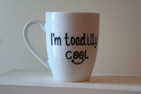 Mug with text. Handpainted. by DavidsLittlethings on Etsy