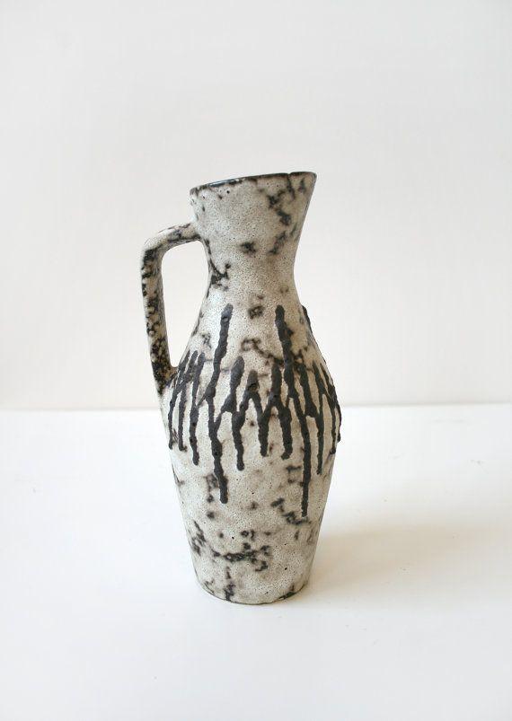 Vintage Scheurich Keramik Grey Black Zig Zag Fat by WestEstShop