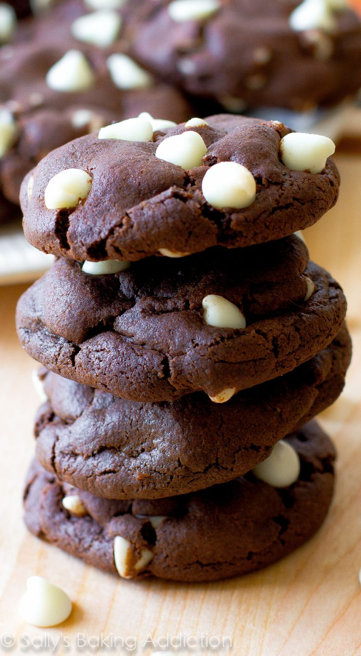 Absolutely my favorite chocolate cookie recipe - it's easy! I love filling them with white chocolate chips.