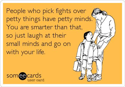People who pick fights over petty things have petty minds. You are smarter than that, so just laugh at their small minds and go on with your lif.