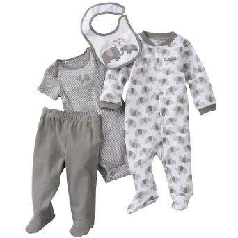 "Carter's Baby Boys Elephant ""Mommy Loves Me"" 4 Piece Layette Set: Amazon.com: Clothing"