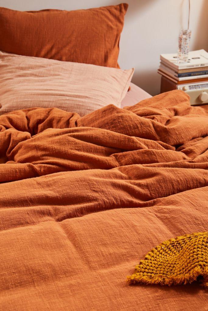 Washed Cotton Slub Duvet Cover Urban Outfitters Orange Duvet Covers Duvet Covers Urban Outfitters Bedroom Orange