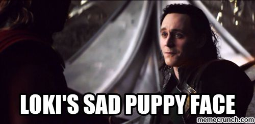 Loki Meme | loki's sad puppy face