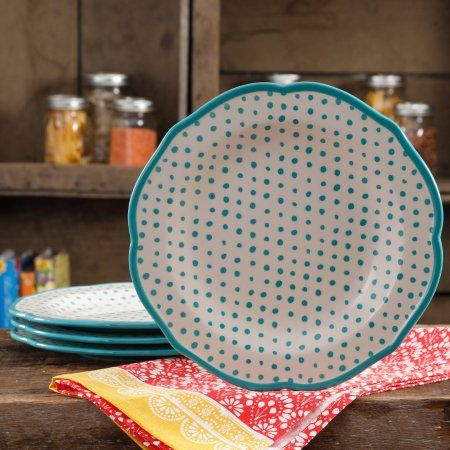 "The Pioneer Woman Retro Dot Teal 10.5"" Dinner Plate Set, Set of 4"