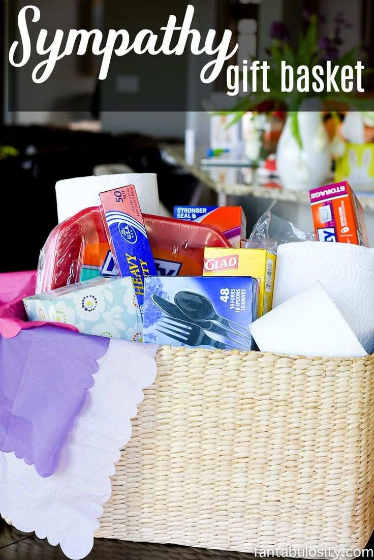 This is so smart! Sending necessities to those who've recently lost someone, so they don't have to worry about having things on hand for guests. Sympathy Gift Basket Idea for bereavement, grieving, funeral, and condolence.