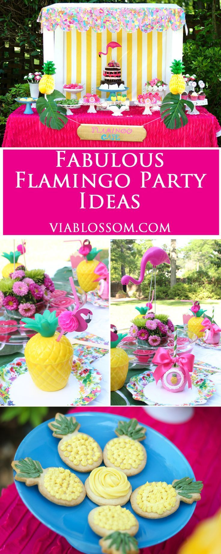 Fabulous Flamingo Party Ideas!!!  Pineapple and Flamingo decorations for a fun Summer Party or a girl Birthday Party!