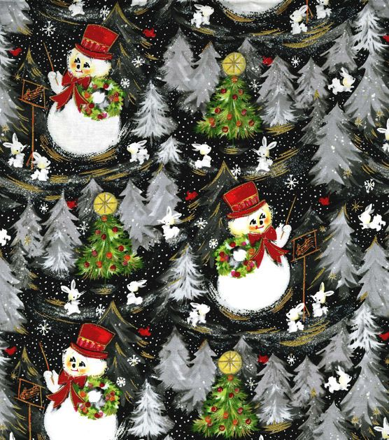 Holiday Inspirations Fabric-Vintage Snowmen Glitter: