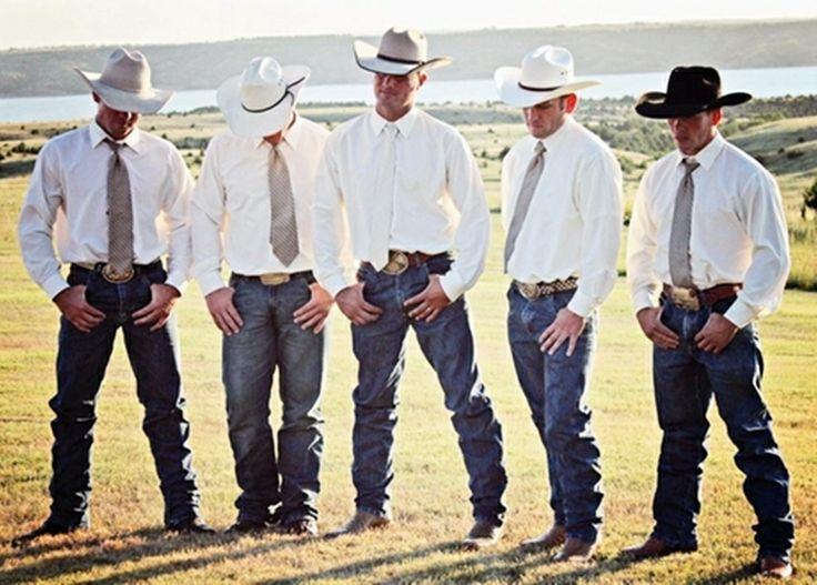 Cowboys dressed for a wedding.