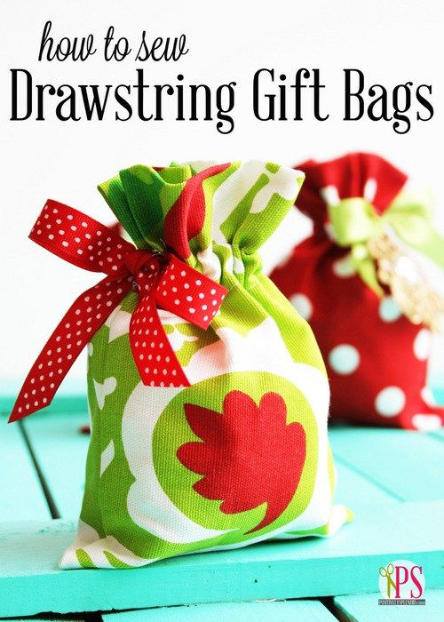 Drawstring Fabric Gift Bag Tutorial www.positivelysplendid.com