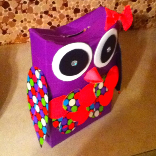 My sisters Valentines day box we made out of duct tape,  all you need is a cereal box, duct tape and foam paper for the eyes.
