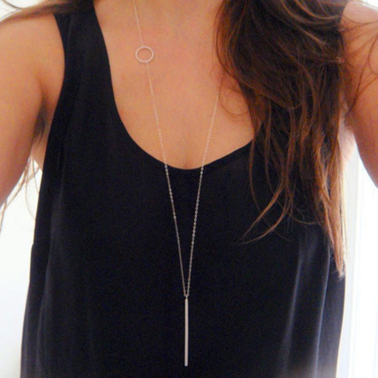 1pc simple charms necklace for womens jewelry circle bar pendant gold plated woman long necklaces sweater link chains