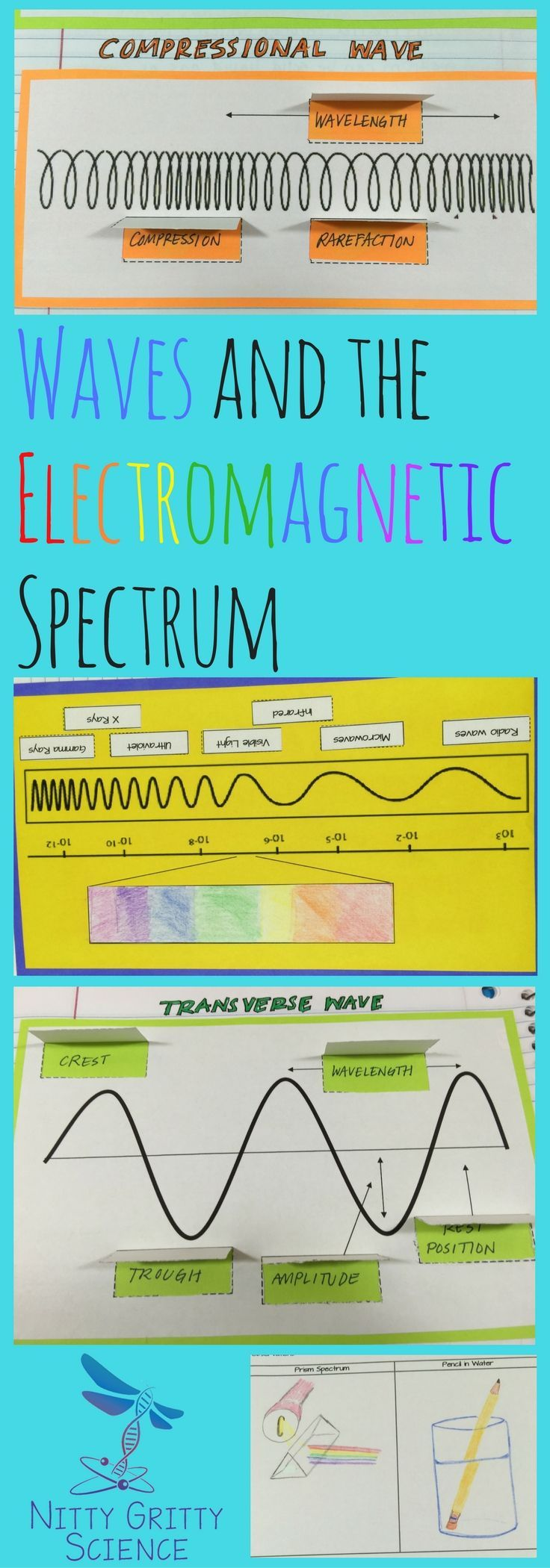 Waves and the Electromagnetic Spectrum: Physical Science Interactive Notebook  •The Nature of Waves •Features of Waves •Behavior of Waves •Electromagnetic Spectrum •Communicating with Radio Waves Students will be given the opportunity to show their understanding of the included concepts by completing the engaging and creative activities for the OUTPUT side of their Science Interactive Notebook. Activities range in variety for each chapter.