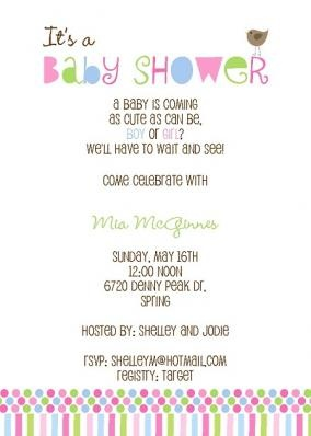 Confetti Shower Time Baby Shower Invitation with bird and colorful polka dots and stripes in pink, lime, blue and magenta From Little Angel Announcements