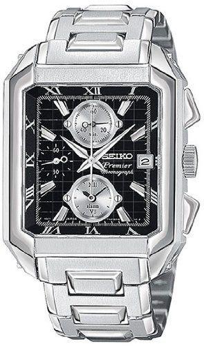 Seiko Chronograph Steel Black Mens Watch SNA743
