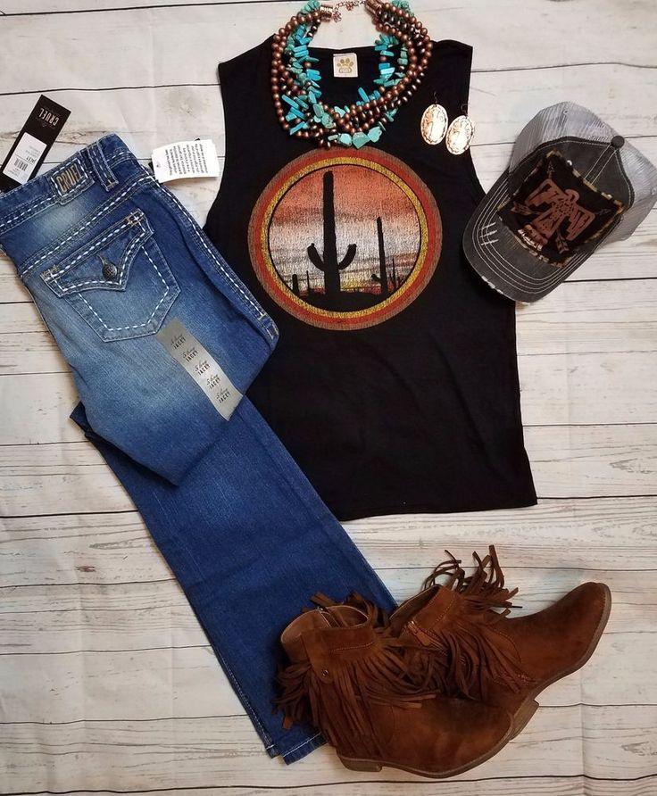 COWGIRL GYPSY CACTUS DESERT SOUTHWEST Soft TANK shirt Western LARGE #Unbranded #TankCami
