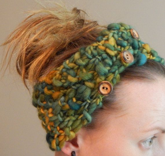 hand spun headband in green and yellow hand by LoveEweNatural, $32.50