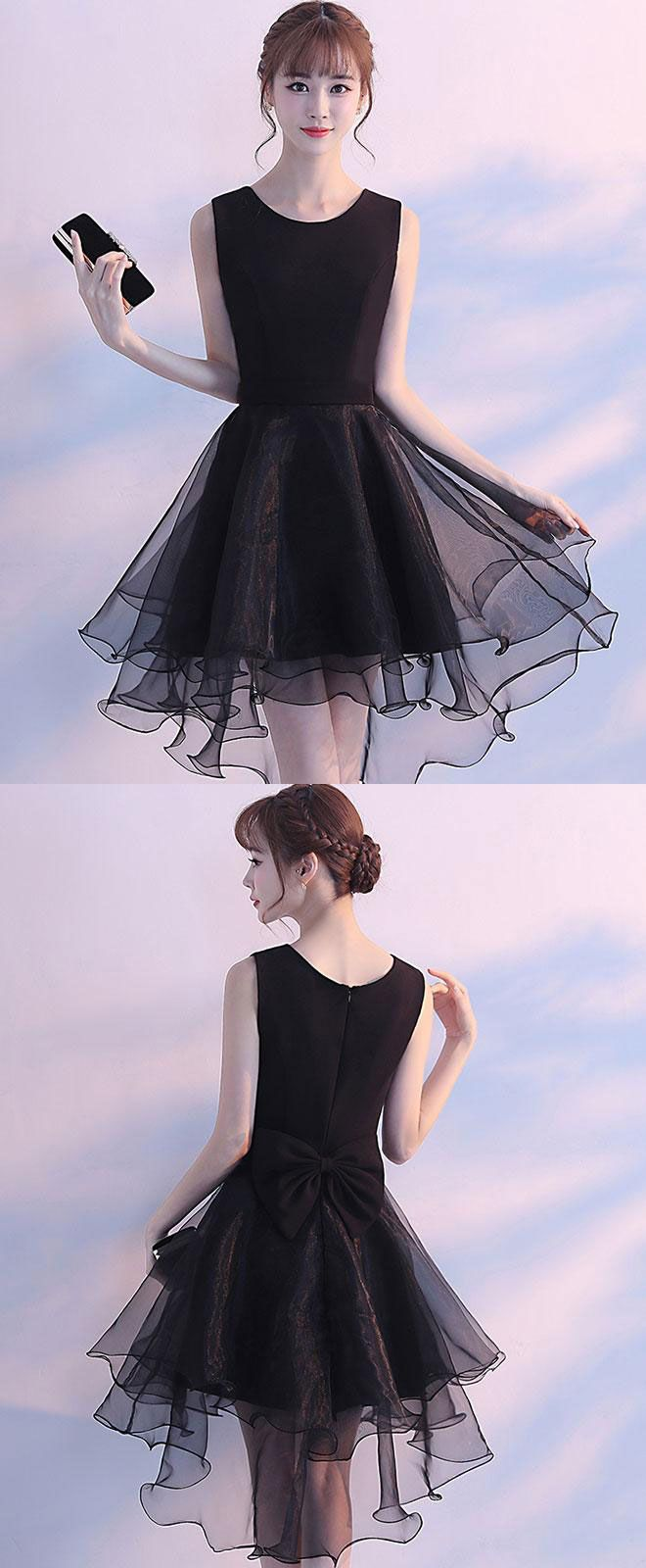 Simple round neck black tulle short prom dress black homecoming