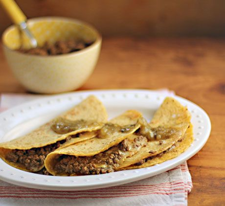 LOVE this recipe for slow cooker Sloppy Joe beef quesadillas!  {The Perfect Pantry}