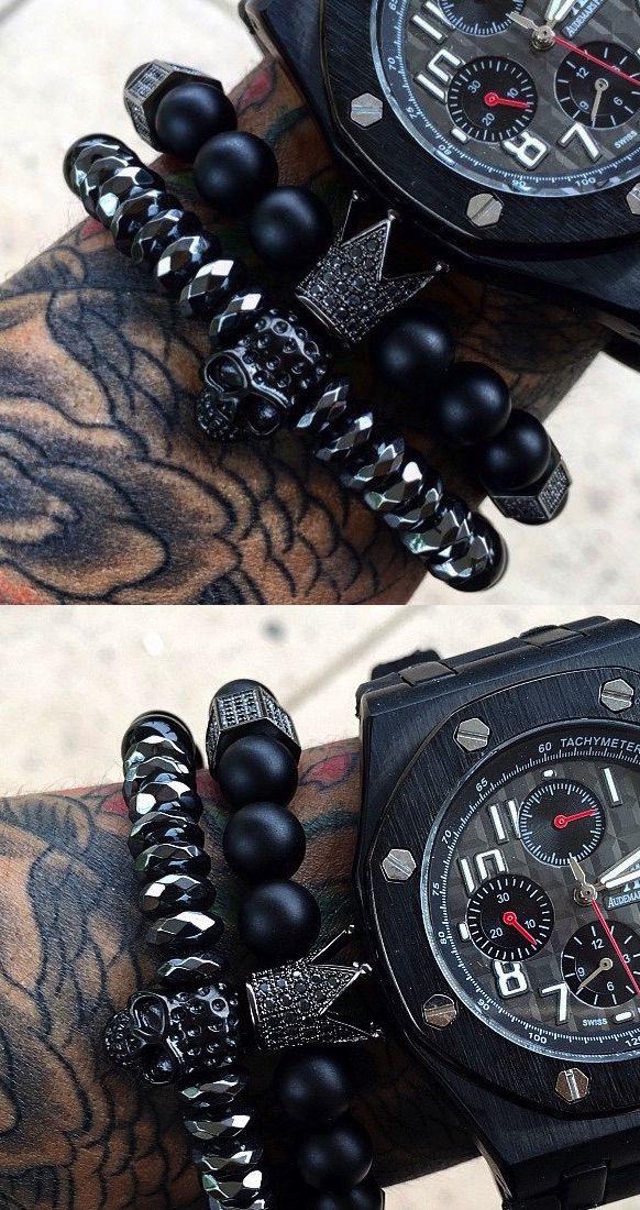 Great combo... skull bracelet + crown for skull bracelet + stealth watch on all black inkwork = cool 'Black Ops' look SkullyBloodrider.