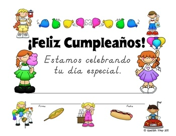 These colorful birthday certificates in 34 different designs, all in SPANISH will brighten up your Spanish classroom birthday celebrations & make students feel appreciated. From Kindergarden to High School students, everyone loves a colorful birthday certificate!
