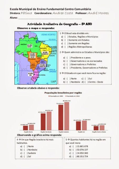 Educar X: Atividades de geografia 5° ano do ensino fundamental