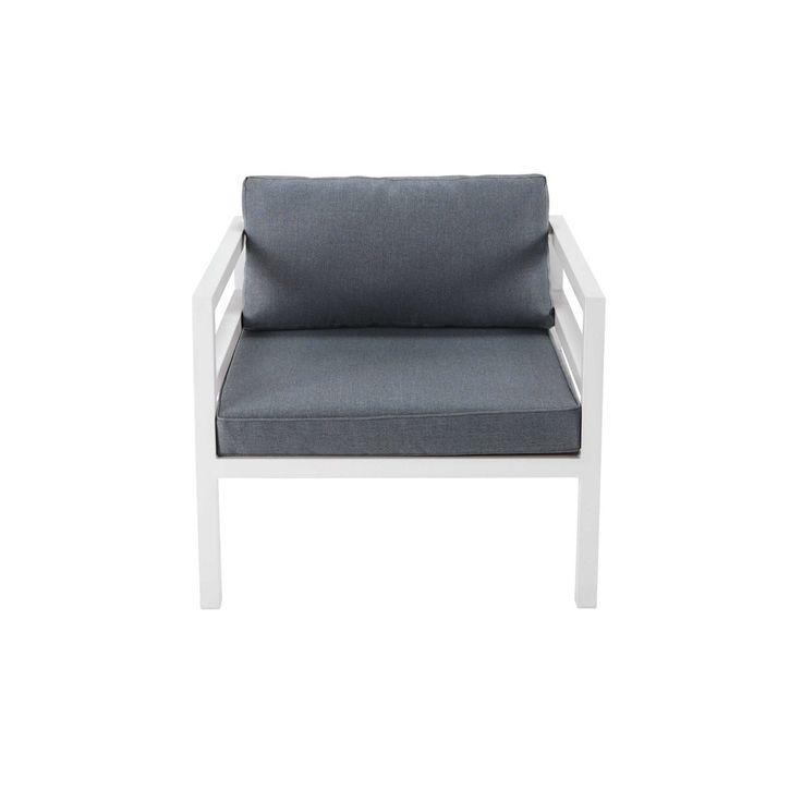 Tuinfauteuil, wit aluminium, grijze bekleding