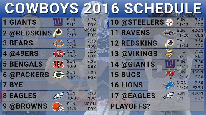 <p>Cowboys 2016 schedule</p>