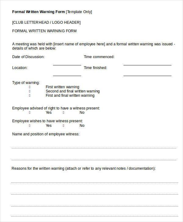 Formal Written Warning Form Verbal Warning Template